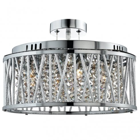 Searchlight Electric Elise 8335-5CC Crystal Button Drops Pendant Ceiling Light