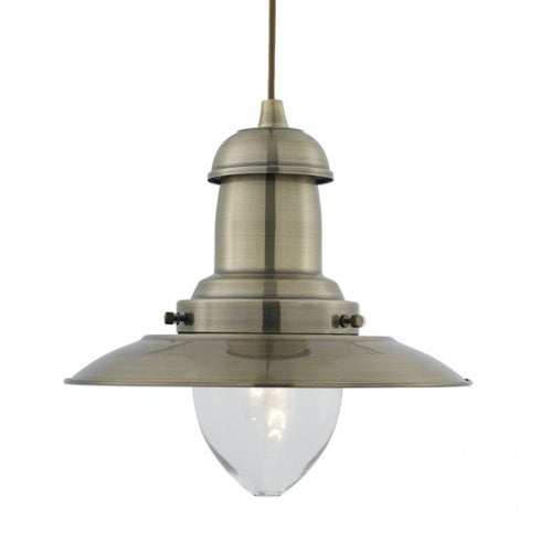 Searchlight Fisherman 4301AB Antique Brass Pendant Ceiling Light