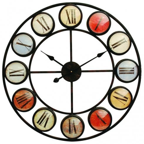 Libra Smarty Iron Clock 137747 Roman Numerals Colour Domed Glass