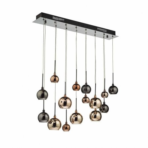 Dar Aurelia 15 Light Pendant Ceiling Light Black Chrome Glass