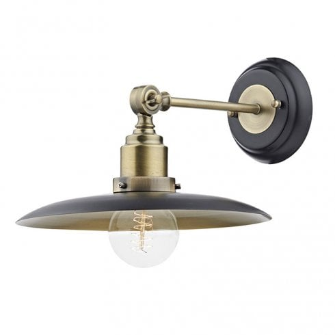Hannover 1 Light Surface Wall Light, Black & Antique Brass