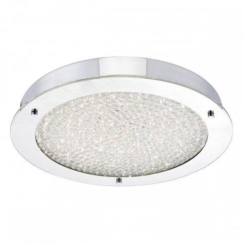 Dar Peta Flush Ceiling Light Polished Chrome Crystal