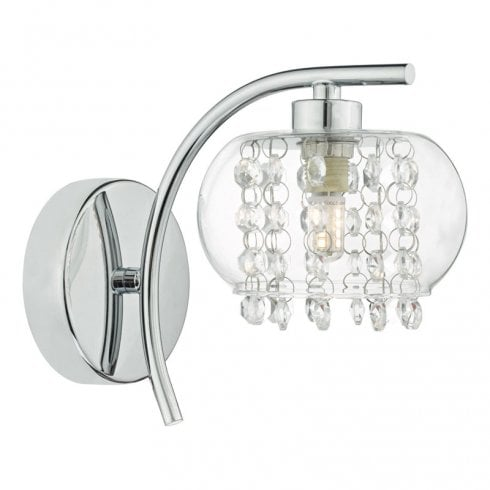 Dar Elma Surface Wall Light Polished Chrome, Glass