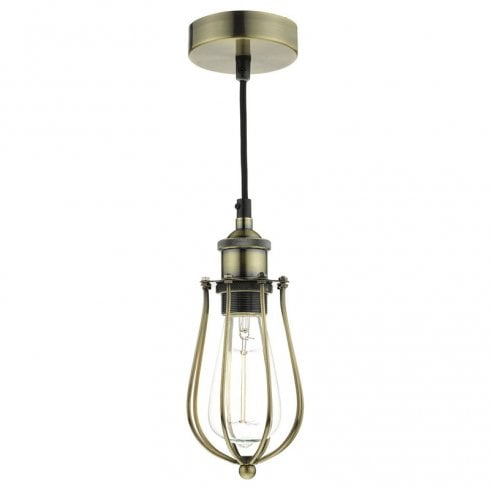 Dar Taurus 1 Light Pendant Cage Antique Brass