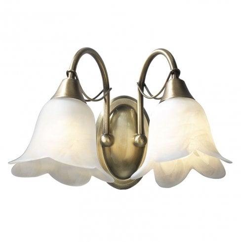 Dar Doublet 2 Light Surface Wall Light Antique Brass