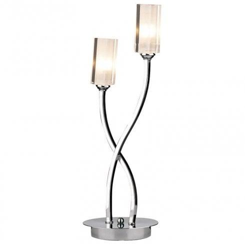Dar Morgan MOR4067 Black Chrome 2 Light Table Lamp