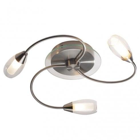 Dar Tugel 3 Light Flush Ceiling Light Satin Chrome