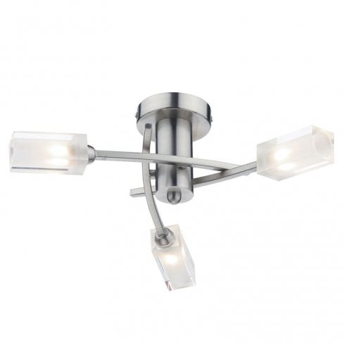 Dar Morgan 3 Light Semi Flush Ceiling Light Satin Chrome