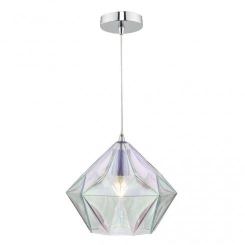 Dar Gaia Pendant Ceiling Light Polished Chrome Glass