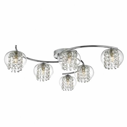Dar Elma 6 Light Semi-Flush Ceiling Light Polished Chrome Glass
