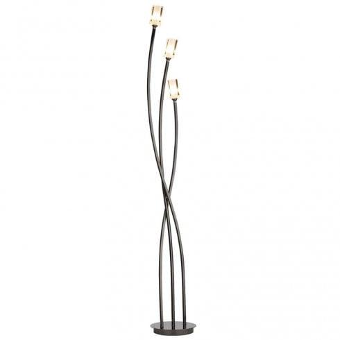 Dar Morgan 3 Light Floor Lamp Black Chrome
