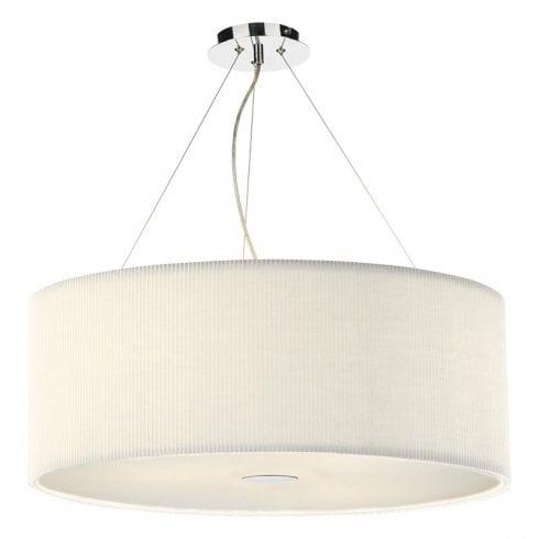 Dar Zaragoza 6 Light Pendant Ceiling Light Polished Chrome 90cm Cream
