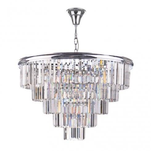 Dar Eulalia 12 Light Chandelier Polished Chrome Crystal
