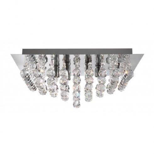 Searchlight Hanna 6404-4CC Crystal Semi-Flush Ceiling Light
