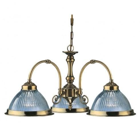 Searchlight American Diner 9343-3 Pendant Light Antique Brass