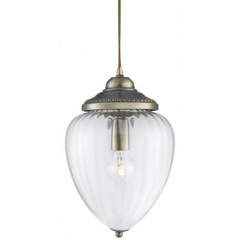Searchlight 1091AB Pendant Ceiling Light Antique Brass