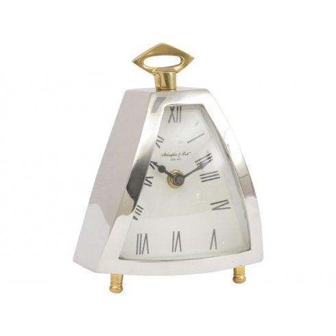 Libra Isosceles 702051 Curved Front Mantel Clock Silver
