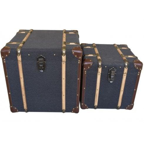 Libra Horsham Set of Two Vintage Wooden Trunks 702855 Grey