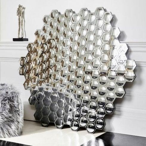 Libra Hexagonal Honeycomb Convex Mirror 703206 Wall Art