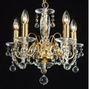 Figaro 400/5 Gold Plated With Crystal Ball Trimmings Chandelier