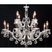 Mozart 600/12+6 Chrome With Beaded Arm & Ball Trimmings Chandelier