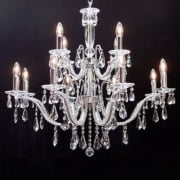 Mozart 603/8+4 Chrome Beaded Arm & New Pear Shape Trimmings Chandelier
