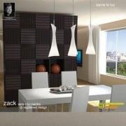 Mantra Zack M0771 Satin Nickel Three Light Line Pendant