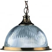 Searchlight American Diner 9369 Antique Brass With Clear Ribbed Glass Shade Pendant