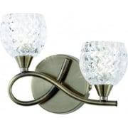 Endon Boyer BOYER-2WBAB Antique Brass & Glass Wall light