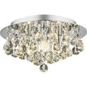 Pluto PLU5250 Polished Chrome Flush 3 Light Ceiling Fitting