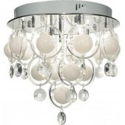 Dar Cloud CLO1350 Opal White Polished Chrome 9 Light Baubles Ceiling Pendant