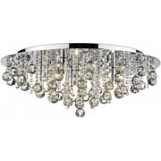 Pluto PLU5450 Polished Chrome Flush 5 Light Ceiling Fitting