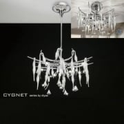 Cygnet IL-IL50413 Chrome White Glass and Crystal Twenty Four Light Flush Telescopic Pendant