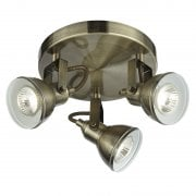 Searchlight Focus 1543AB Antique Brass Round 3 Ceiling Spotlight