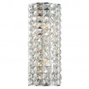 Dar Matrix 2 Light Surface Wall Light Polished Chrome, Crystal