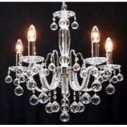 Mozart 600/5 Chrome With Beaded Arm & Ball Trimmings Chandelier