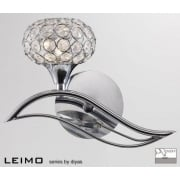 Diyas Leimo IL30951/L Polished Chrome Crystal Single Light Switched Wall Light Left Hand