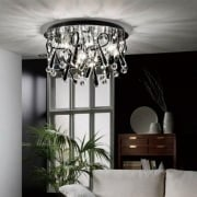 Class IL-IL50385 Chrome Crystal Black Twenty Light Round Ceiling Light