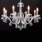 Mozart 600/8+4  Chrome With Beaded Arm & Ball Trimmings Chandelier