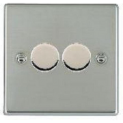 Hartland 732X40 Bright Chrome 2 gang 400W 2 Way Leading Edge Push On/Off Resistive Dimmer, max 300W per gang