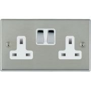 Hamilton Hartland 73SS2BC-W Bright Chrome 2 gang 13A Double Pole Switched Socket