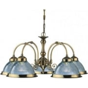 American Diner 9345-5 Antique Brass With Clear Ribbed Glass 5 Light Pendant