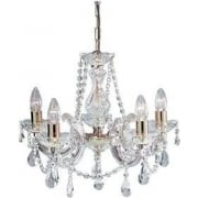 Searchlight Electric Searchlight Marie Therese 699-5 Polished Brass Crystal Pendant Ceiling Light