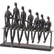 Bench Family Sculpture 357152 Rustic Rough Bronze Finish