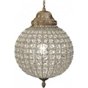 Round 036014 Small Crystal Chandelier with Brass Banded Leaf Decoration