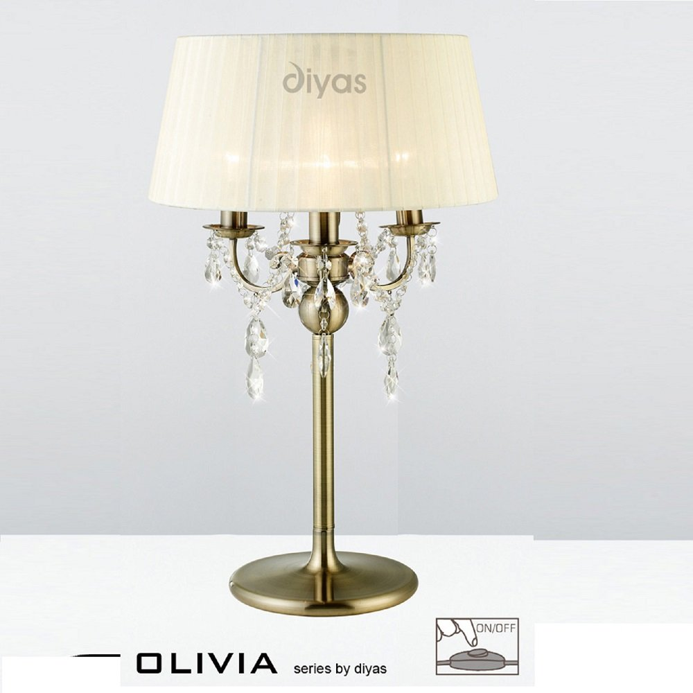 Diyas Uk Olivia Il Il30065 Cr Antique Brass Crystal Three Light