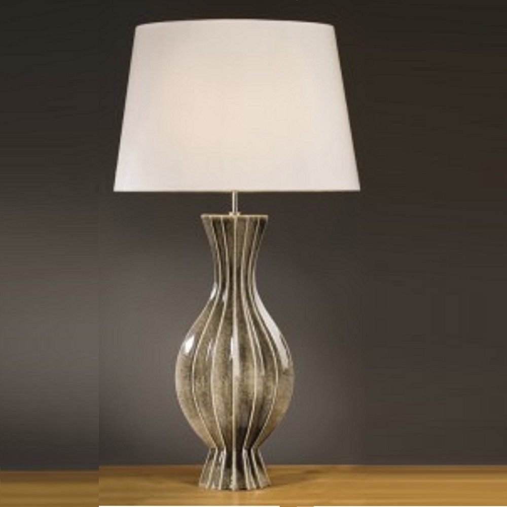 Elstead Lighting Ribbed Vase Black Gold Table Lamp Tall