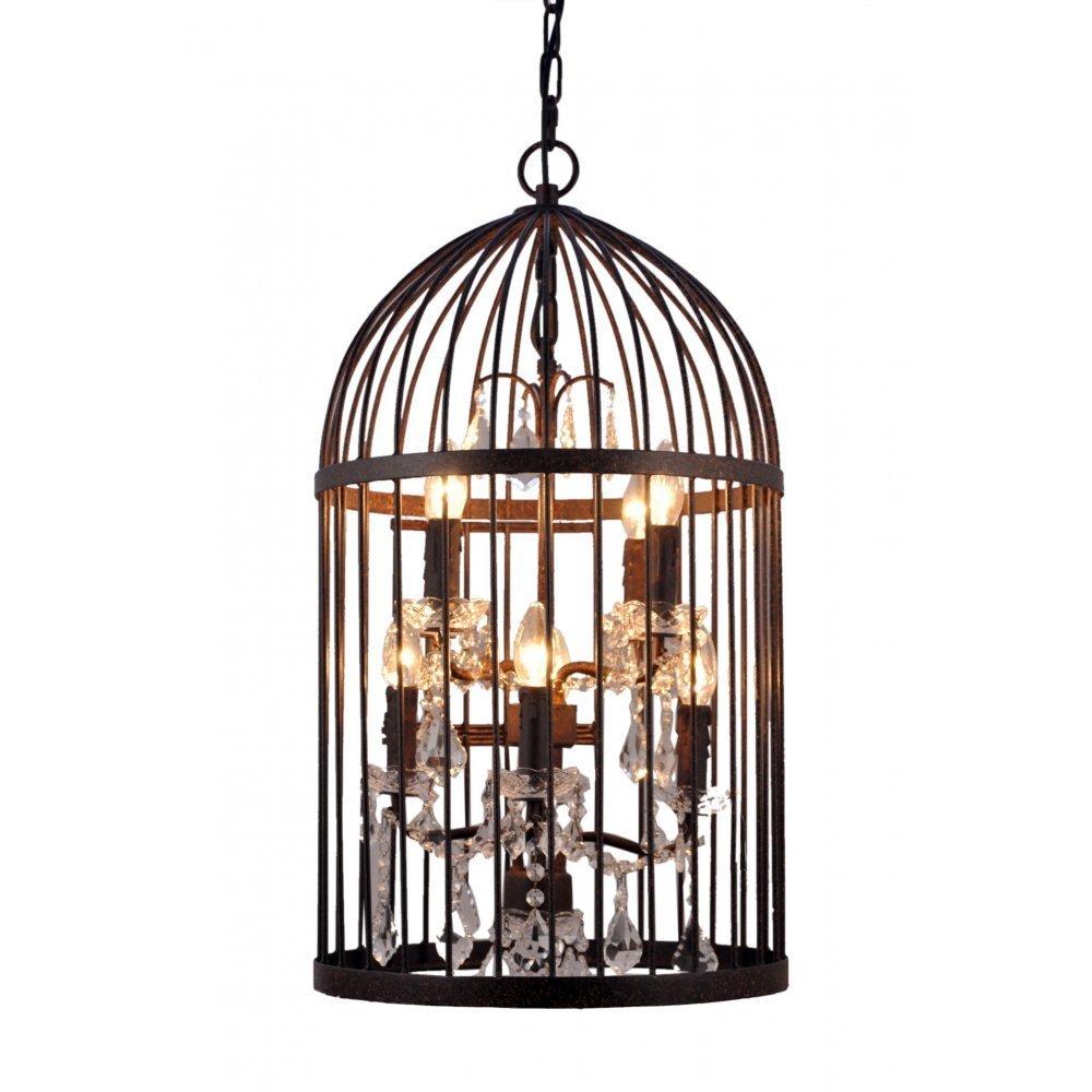 Dark Bronze Bird Cage Lantern Ceiling Lights By Libra