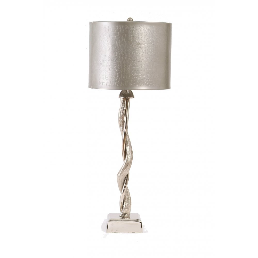 Libra Company Willow Lamp Stand 037063 Small Silver Nickel Table With Pewter Shade