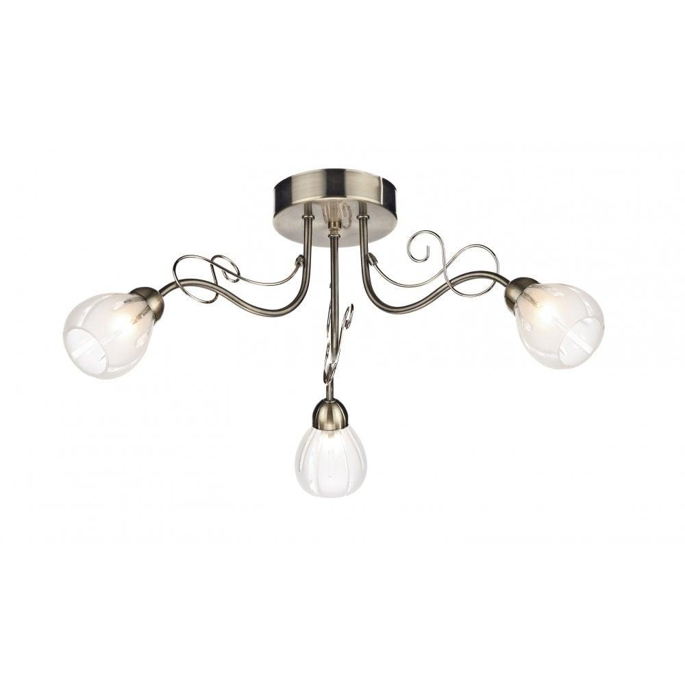 Dar Lighting Fusion Fus5375 Antique Brass 3 Light Semi